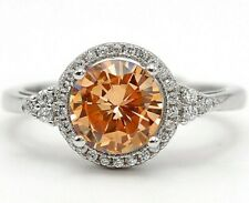 2CT Padparadscha Sapphire & Topaz 925 Sterling Silver Ring Sz 7, M13