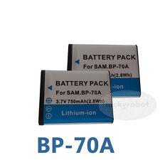 2X Battery For Samsung BP70A SL50 SL600 SL630 TL105 AQ100 WP10 ES65 TL205