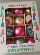 12 vintage Santa Land Christmas tree ornament balls indent glass