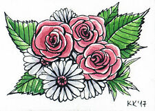 Original hand painted ACEO Bouquet of roses and daisies watercolor and  ink