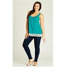 LADIES SIZE 22 TEAL GREEN CROCHET DETAIL TANK NEW WITH TAG RRP $34.95