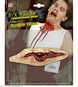 SLASHED THROAT SCAR  ADHESIVE  SPECIAL FX  HALLOWEEN ZOMBIE BLOOD FANCY DRESS
