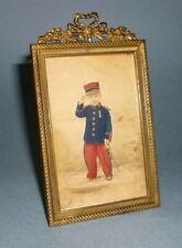 cadre photo laiton restauration napoleon III XIX enfant militaire uniforme WW1