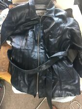 VTG WILSONS PELLE STUDIO SMOOTH BLACK LEATHER COAT Thinsulate XL