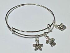 Adjustable Bangle Bracelet Women Fashion Silver Turtle, Crab & Starfish Charms