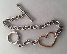 14 KT ITALY WHITE AND ROSE GOLD HEART TOGGLE BRACELET 9.4 GRAMS