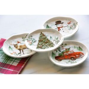 Farmhouse Christmas Plate 6'' Set of 4 Appetizer Plates