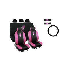 New Set Pink Hawaiian Flowers Car Front Rear Seat Covers Steering Wheel Cover