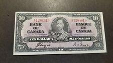 Canada , Ten Dollars Vintage Bank Note. 1937. King George VI.