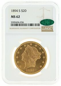 1894-S Double Eagle NGC MS62 CAC $20
