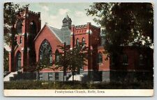 Rolfe Iowa~Presbyterian Church~Close Up~Stained Glass Windows~Fine Crop~1909