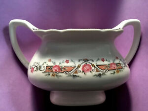 Vintage Lido WS George White 298A Handled Sugar Bowl USA Plat. or Wht. Gold Trim