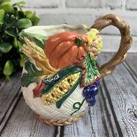 Vintage 1996 Fitz & Floyd Fall Harvest Tea Coffee Mug Cup Corn Pumpkin Grape....