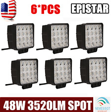 6X 48W Spot Square Led Work Lights Off Road ATV SUV 4X4 Car Boat Jeep Truck Fog