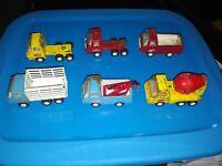 "Vintage Lot of 6 Tonka Trucks Fire Police Cement Mixer Semi Wrecker 4"" & 5 inch"