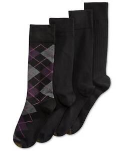 $45 Gold Toe Men 4 Pair Pack Black Gray Cotton Casual Crew Dress Socks Shoe 6-12