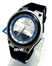 Casio AW-82-7A Moon Phase Dual Time 50M Fishing Gear Black Resin Men's Watch NEW
