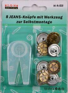 8, 16 oder 24 Jeans - Knöpfe + Werkzeug für Hosen Hemden Nähfrei Metall 20mm