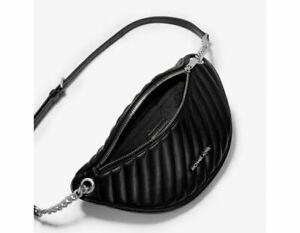 Michael Kors Peyton Large Chain Belt Bag Quilted Crossbody Black Silver $378 19