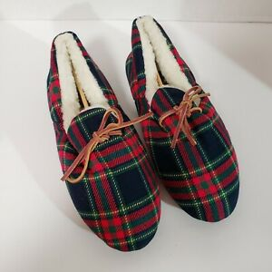 Vintage Daniel Green Plaid Red Comfy House Slippers Shoes Comfortable Size 9 NEW