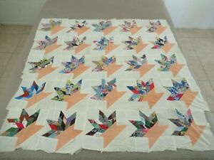 """Vintage Feed Sack Hand Pieced BASKET Quilt TOP; 54"""" x 52"""""""