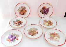 goldcastle 7 1/2 in fruit plate made in japan vibrant red and gold trim set of 7