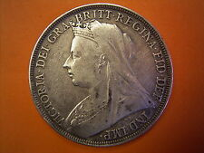 1896 Queen Victoria Old Head Coinage Milled Silver Crown