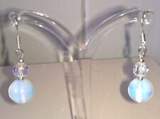 Hook Handmade Moonstone Round Fine Earrings