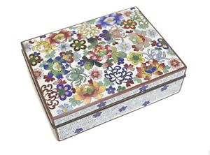 Japanese Yusen-shippo Cloisonne Enamel Box, Silvered Copper. Shaded florals