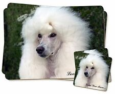 White Poodle Dog 'Love You Mum' Twin 2x Placemats+2x Coasters Set , AD-POD5lymPC