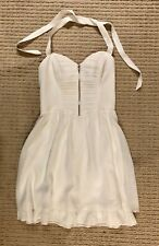 NEW GUESS WHITE HALTER TIE NECK ZIP FRONT FLARE MINI DRESS SIZE 6