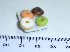 1:12 Scale 4 Donuts  on a Plate 11  Doll House Miniatures