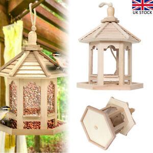 Wooden Bird Feeder Garden Hummingbird with Roof Hanging Wild Bird Feeding Stat