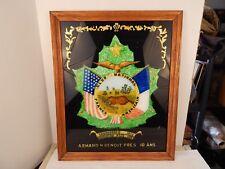 great 1923 Folk Art Fraternal ART WORK Frano-American Club Brockton MA Flags