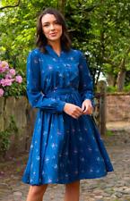 Lindy Bop 'Ivory' Teal Rose Print Vintage 1950s Garden Party Shirt Dress BNWT