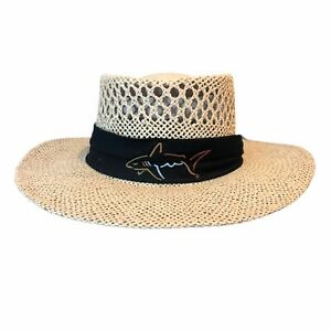 """Greg Norman  Straw Hat """"The Shark"""" Golf Hat One Sz Fits"""