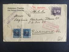 1939 las Palmas Spain Cover to Richmond Va Usa Tobacco Industry Censored