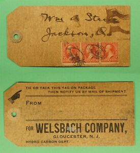 DR WHO WELSBACH CO GLOUCESTER NJ PARCEL TAG  C242741