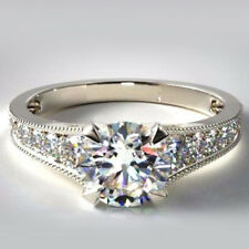Engagement Ring 14K White Gold Over 1.25 Ct Round Cut Diamond Ladies Wedding