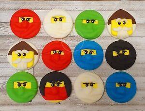 100% edible handmade Ninjago style cupcake toppers x 12