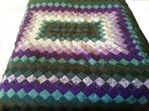 """Amish quilt NEW Queen/King, Gorgeous - Purple, Green and white 106"""" x 87"""""""