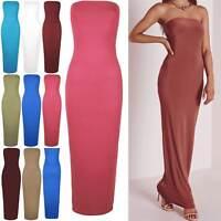 New Womens Maxi Dress Ladies Plus Size Bodycon Bandeue Boobtube Strapless Jersey