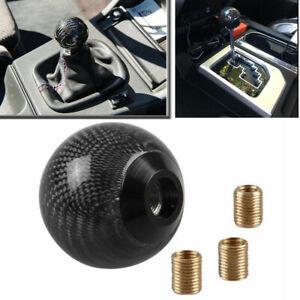 100% Black Carbon Fiber Ball Manual MT Gear Stick Shifter Shift Knob Universal