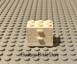 LEGO  WHITE  CONTAINER 2 WHITE Drawer 2x3x2 Minifig Cupboard Nightstand