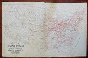 Railroad Map of the United States & Steamship Lines 1880 Mitchell map