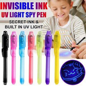 Spy Pen Invisible Ink UV Light Magic Secret Messages Party Kids Gift