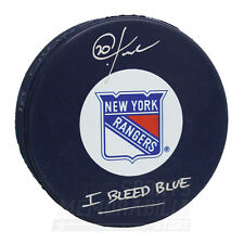 Chris Kreider New York Rangers Signed Autographed Inscribed I BLEED BLUE Puck