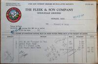 Newark, OH 1927 Color Letterhead: Fleek & Son Grocery/Grocers - Ohio w/Chicken
