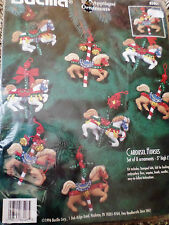 Bucilla Christmas Felt Applique Holiday Ornament Craft Kit,CAROUSEL HORSES,83408