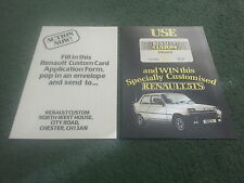 1980 RENAULT WIN A CUSTOMISED 5TS + CUSTOM CREDIT CARD APPLICATION - UK BROCHURE